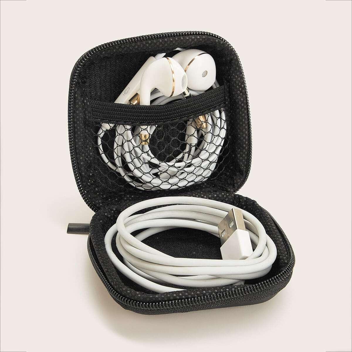 Vierkante opbergtas voor kabel en headset