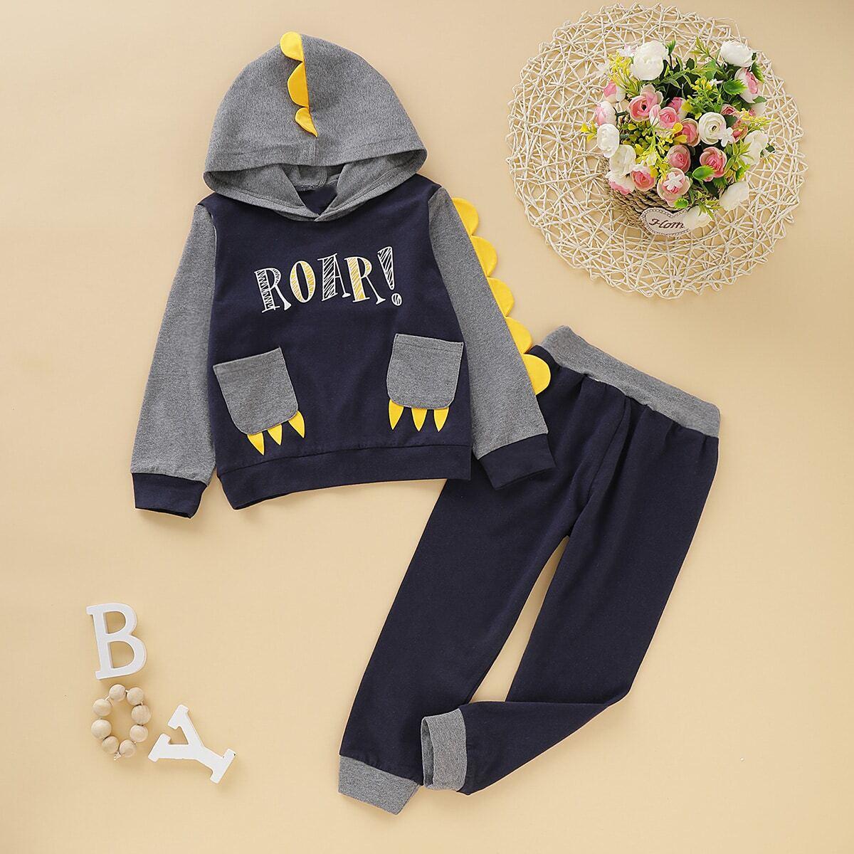 Толстовка с текстовым принтом, карманом и спортивные брюки для мальчиков от SHEIN