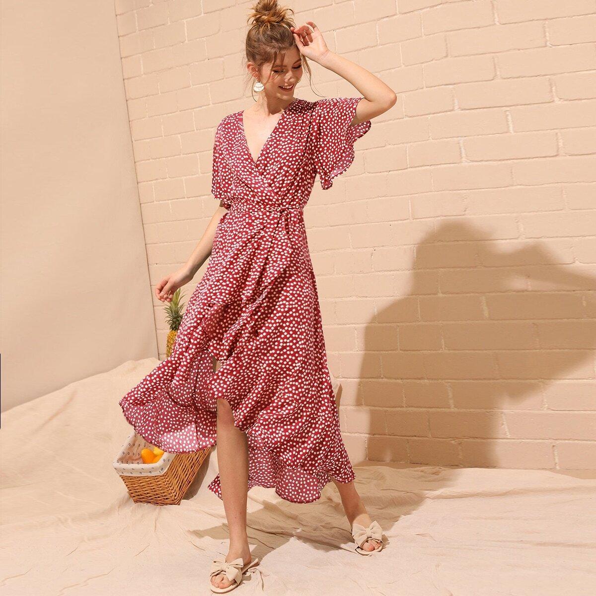 Цветочное платье с разрезом и поясом Image