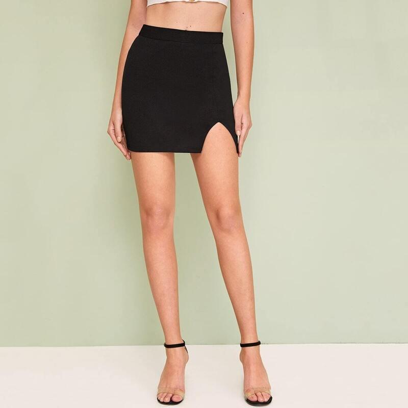 Solid Split Hem Zip Back Skirt, Black