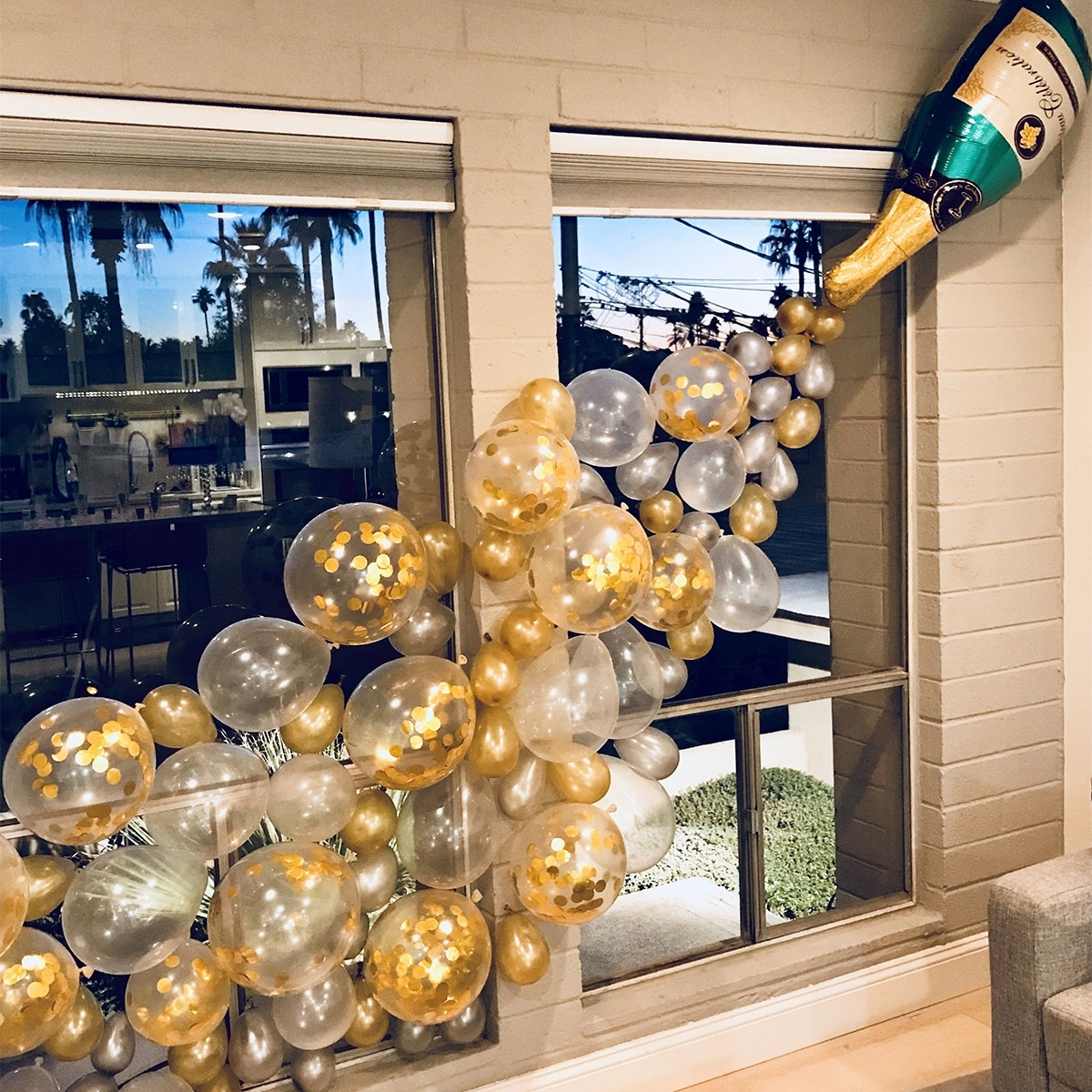 Champagne-flessenballon 1pc & decoratieve ballonset 25st