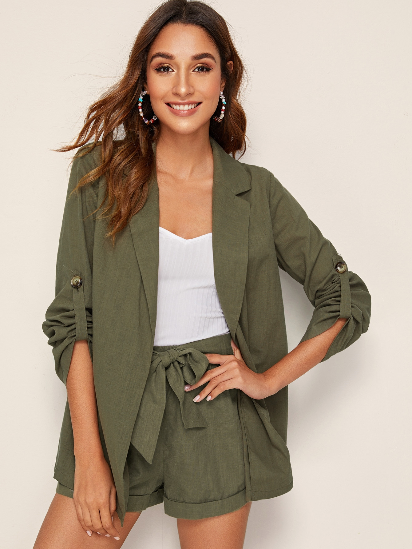 Фото - Стильный пиджак с оригинальным рукавом от SheIn цвет цвета хаки