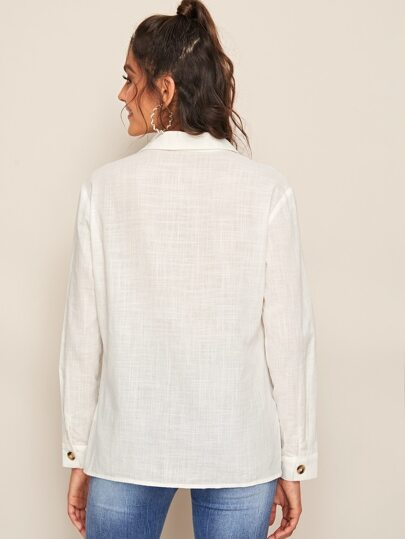 Фото 2 - Короткая блуза в горошек со сборками от SheIn черного цвета