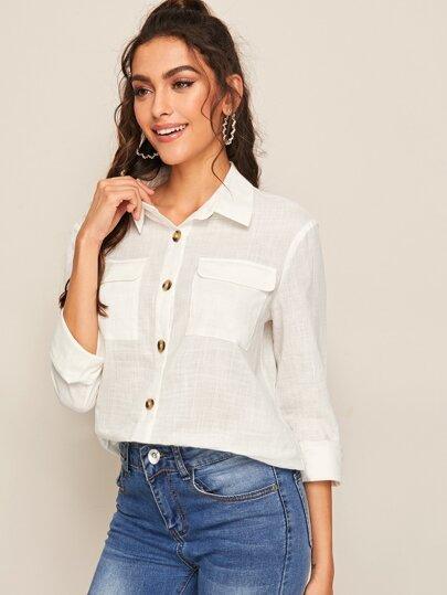 Фото 4 - Короткая блуза в горошек со сборками от SheIn черного цвета