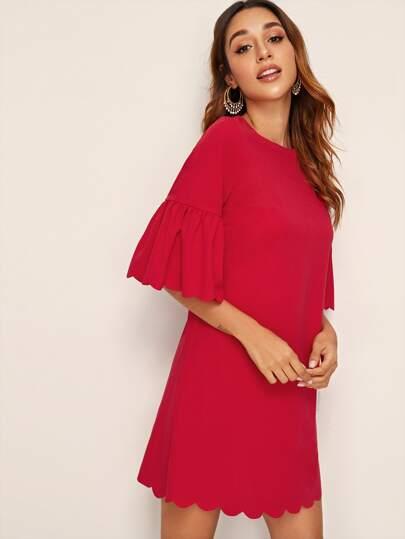 SheIn / Drop Shoulder Ruffle Cuff Scallop Trim Tunic Dress