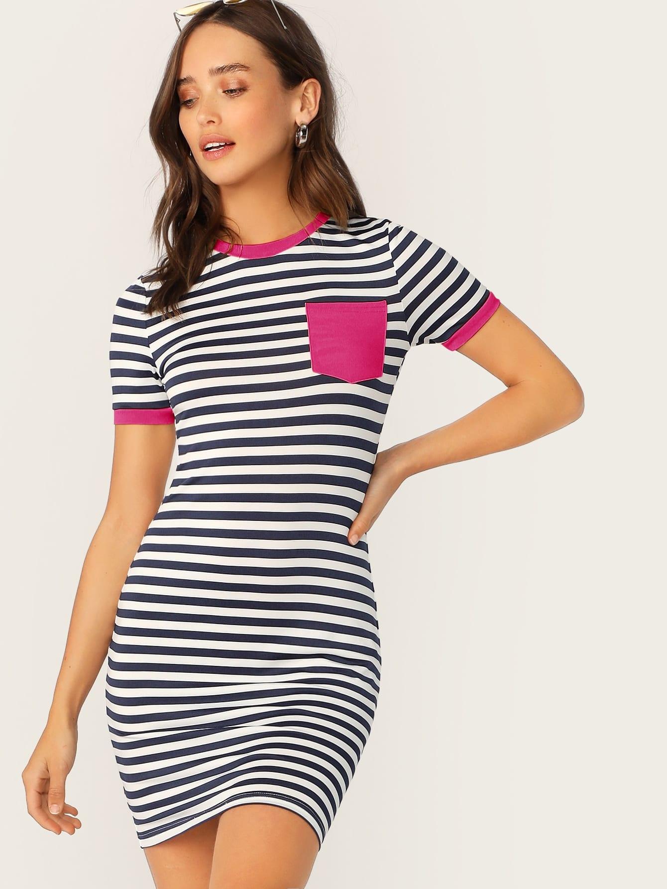 Фото - Платье в полоску с контрастной отделкой от SheIn цвет тёмно-синие