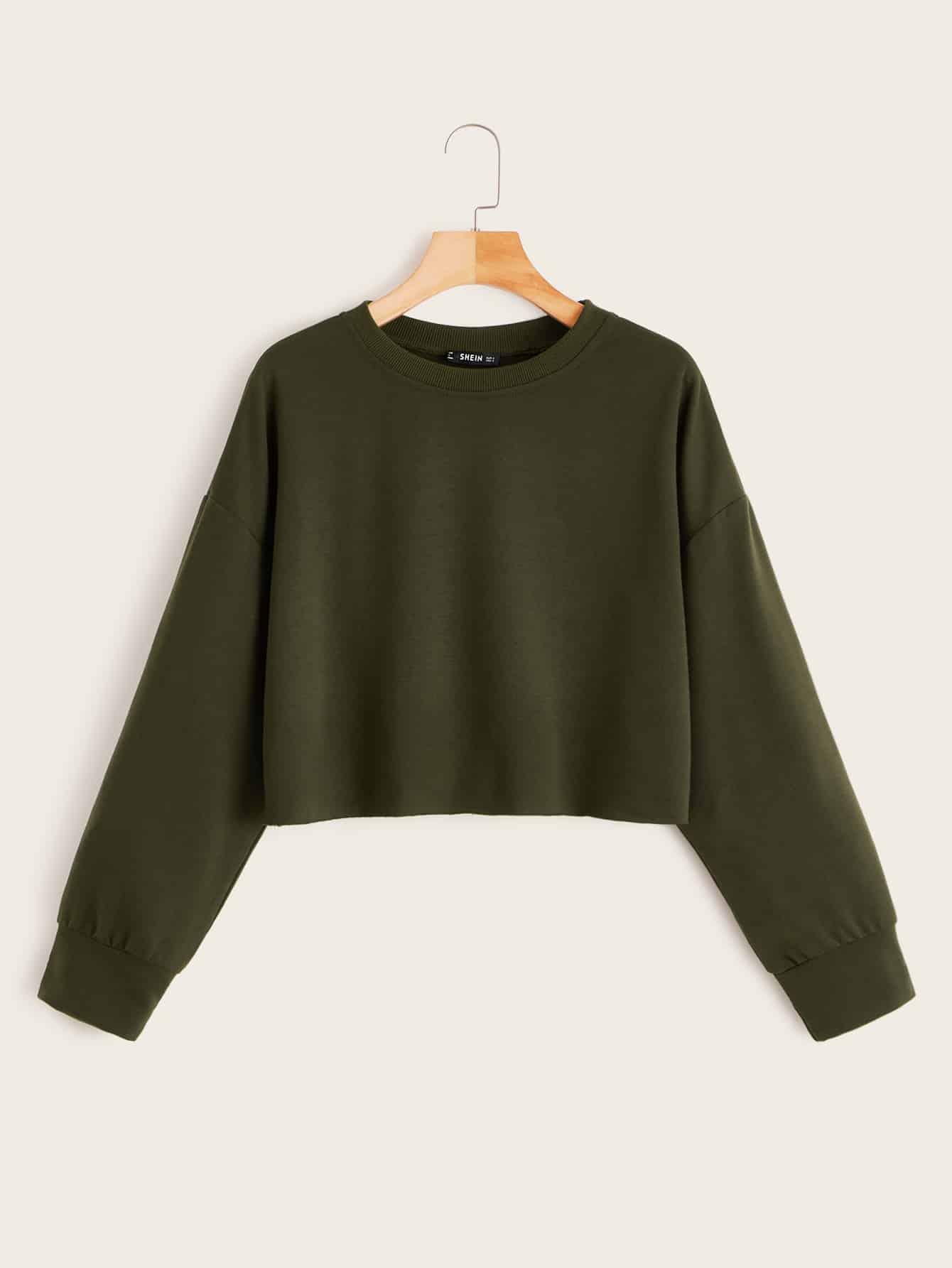 Фото - Однотонный пуловер с заниженной линией плеч от SheIn цвет цветахаки