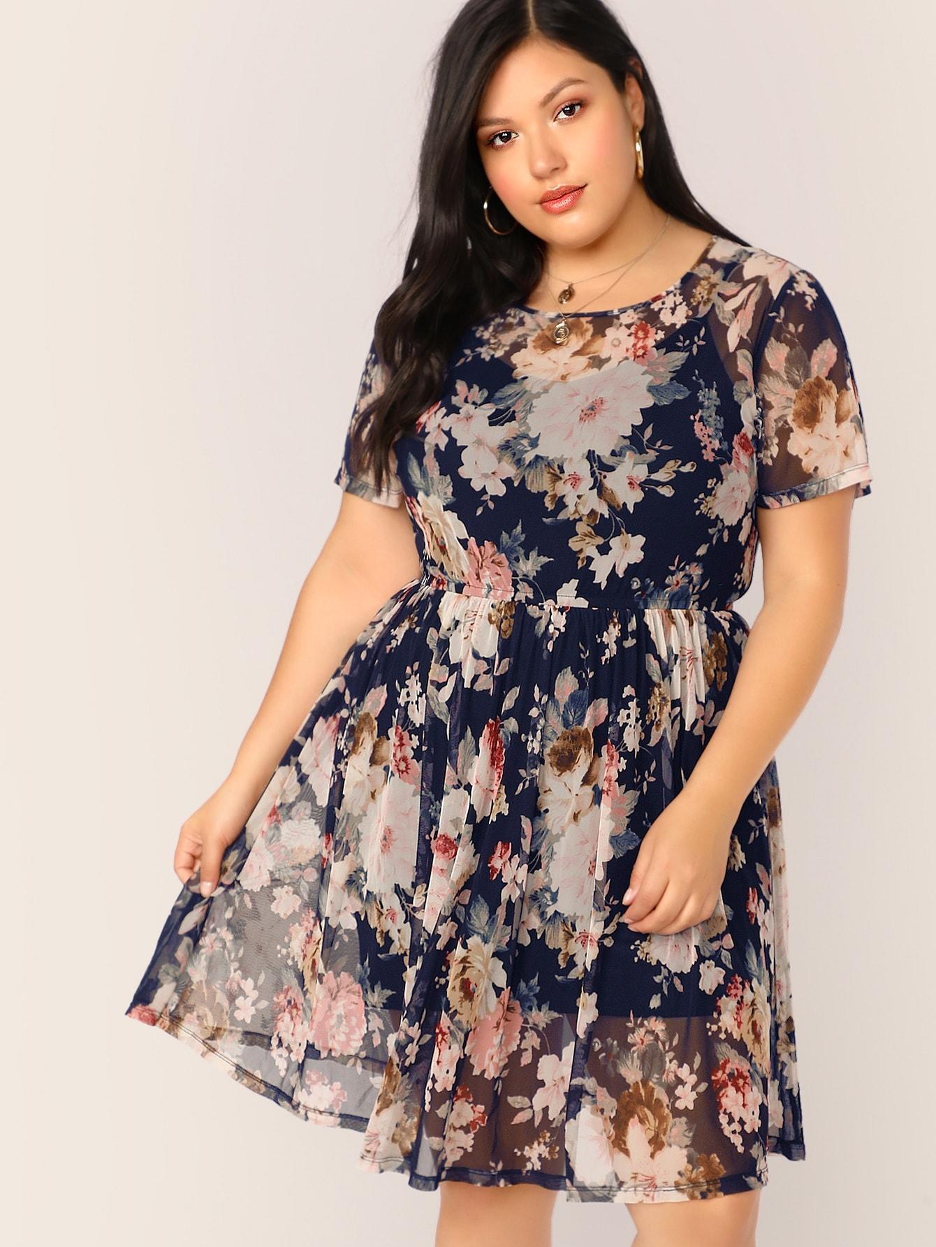 Фото - Полупрозрачное платье с цветочным принтом без майка размера плюс от SheIn цвет многихцветные