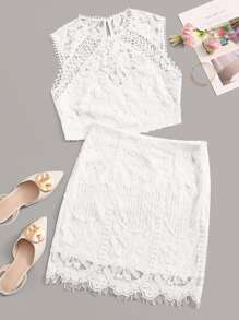 Guipure Lace Keyhole Back Top and Bodycon Skirt Set