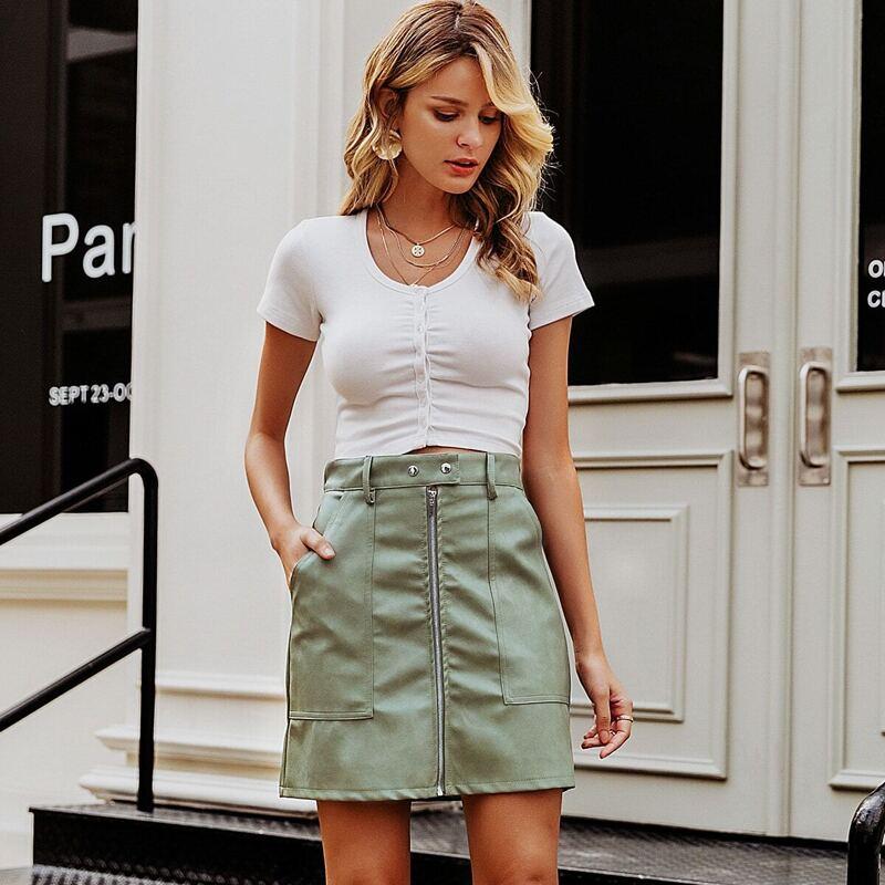 Simplee Zip Front Pocket PU Skirt, Green