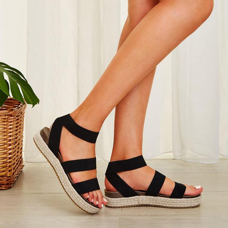 Open Toe Espadrille Wedges, Black
