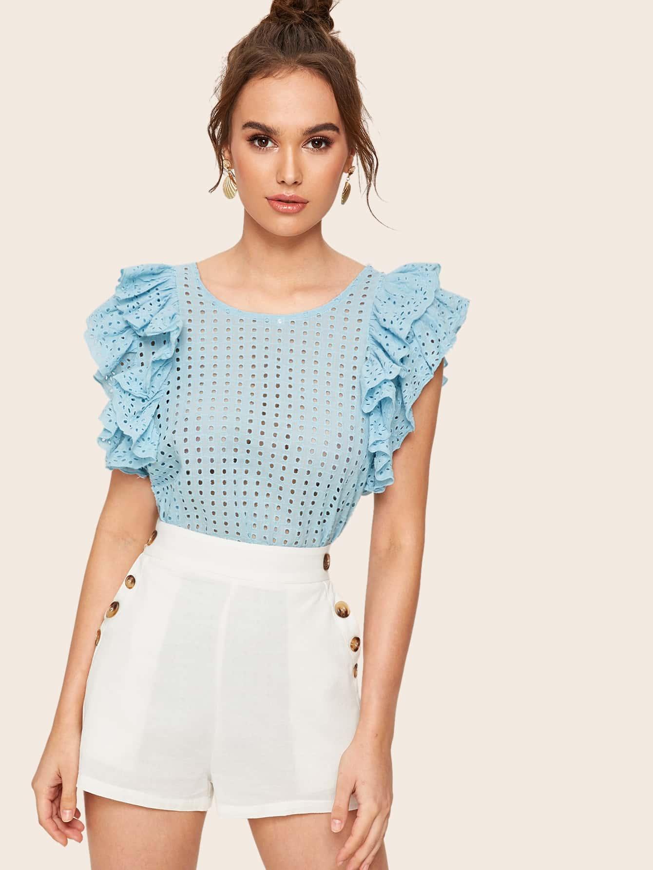 Фото - Блузу с вышивкой, пуговицами и оригинальным рукавом от SheIn синего цвета
