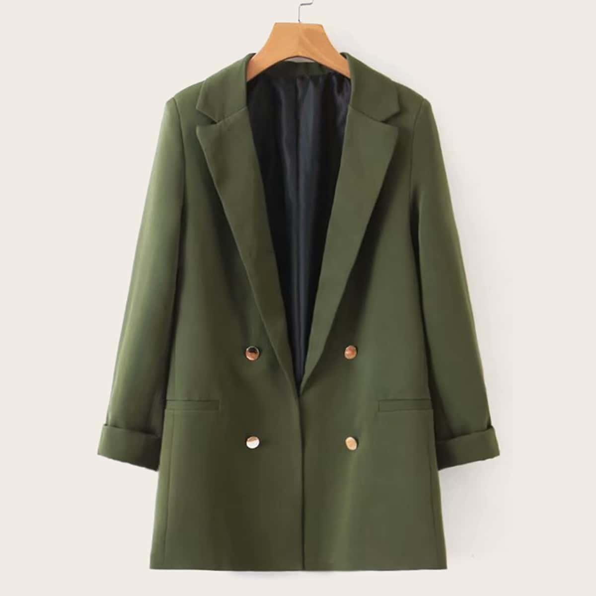Однотонный двубортный пиджак от SHEIN