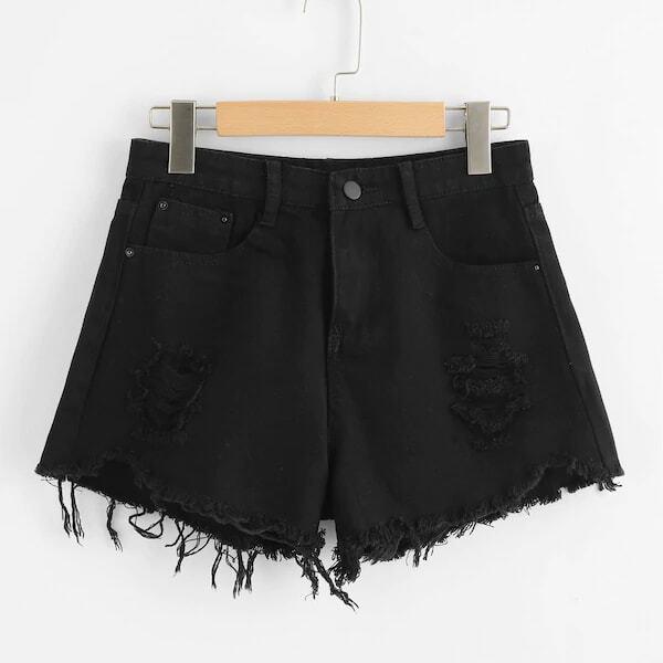 Zwart Casual Vlak Grote maten: jeansshorts Gescheurd