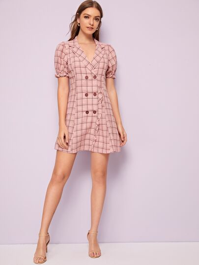 SheIn / Notched Collar Puff Sleeve Double Breasted Plaid Dress