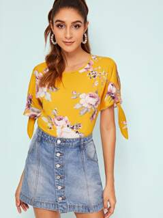 Floral Print Knot Cuff Top