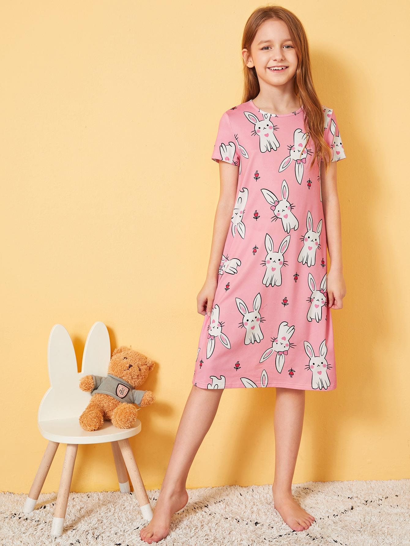 Фото - Ноочная рубашка с графическим принтом для девочек от SheIn цвет розовые