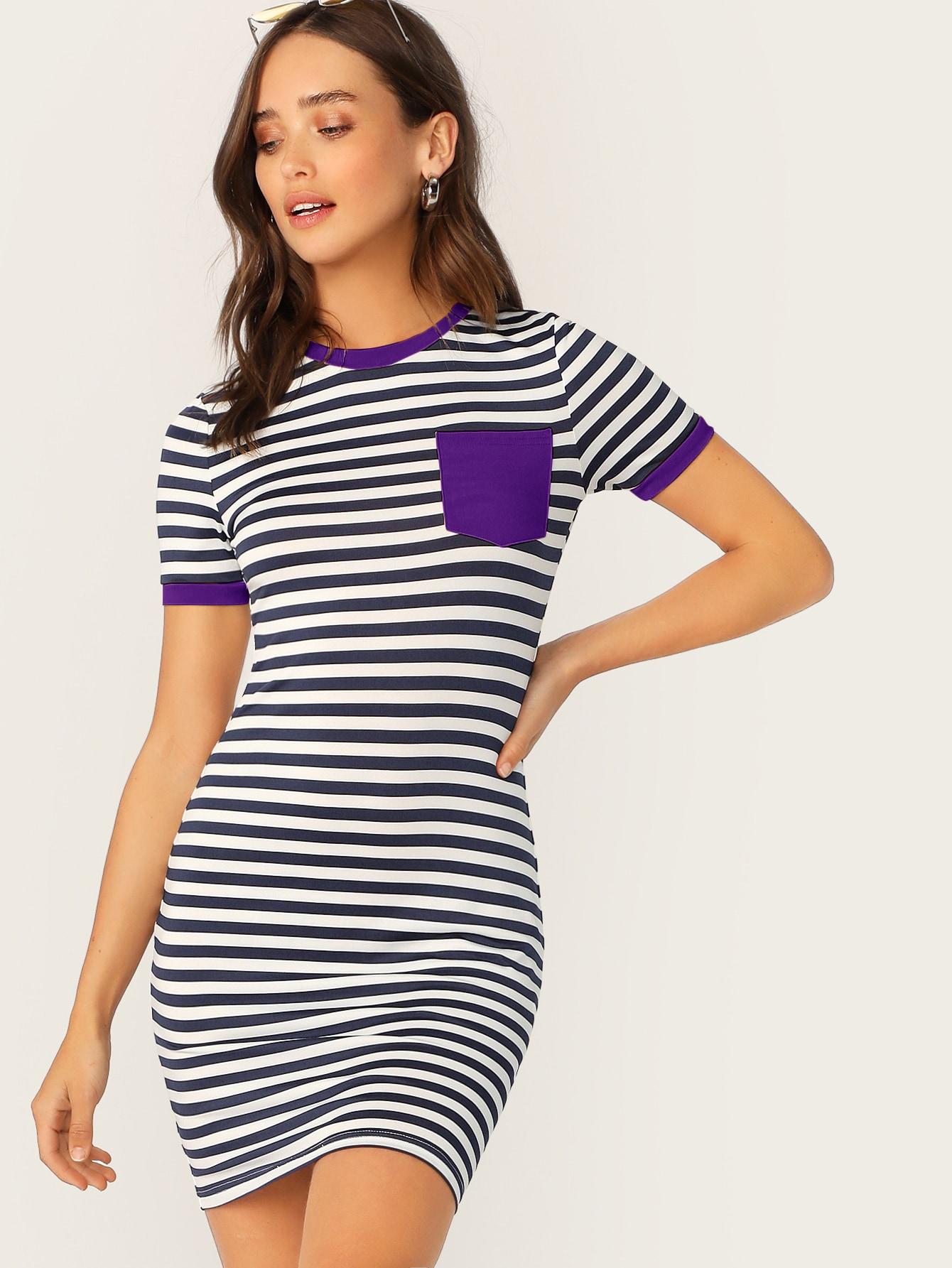Фото - Полосатое платье на запах с карманом от SheIn цвет тёмно-синие