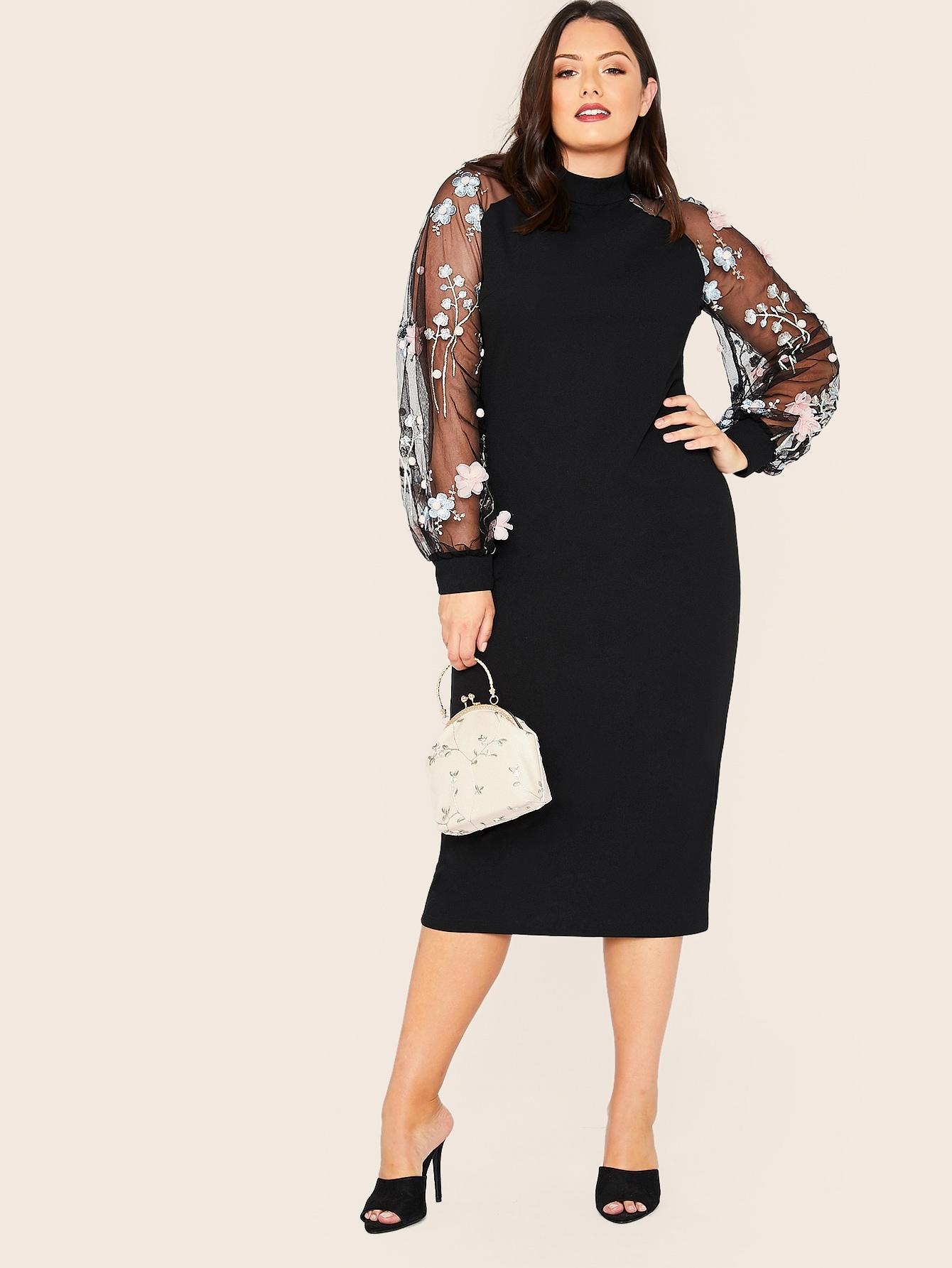 Фото - Платье-карандаш с регланом рукавом и аппликацией размера плюс от SheIn цвет чёрные