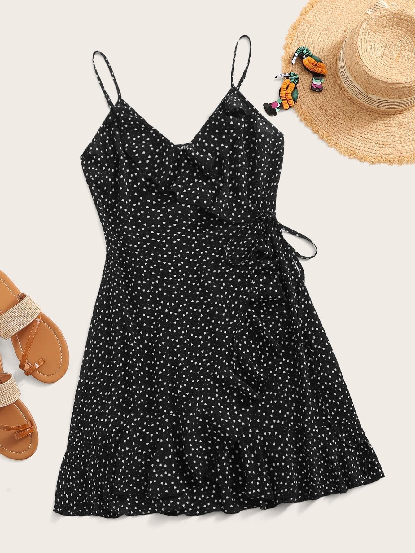 Фото - Платье на запах с узлом и графическим принтом от SheIn цвет чёрные