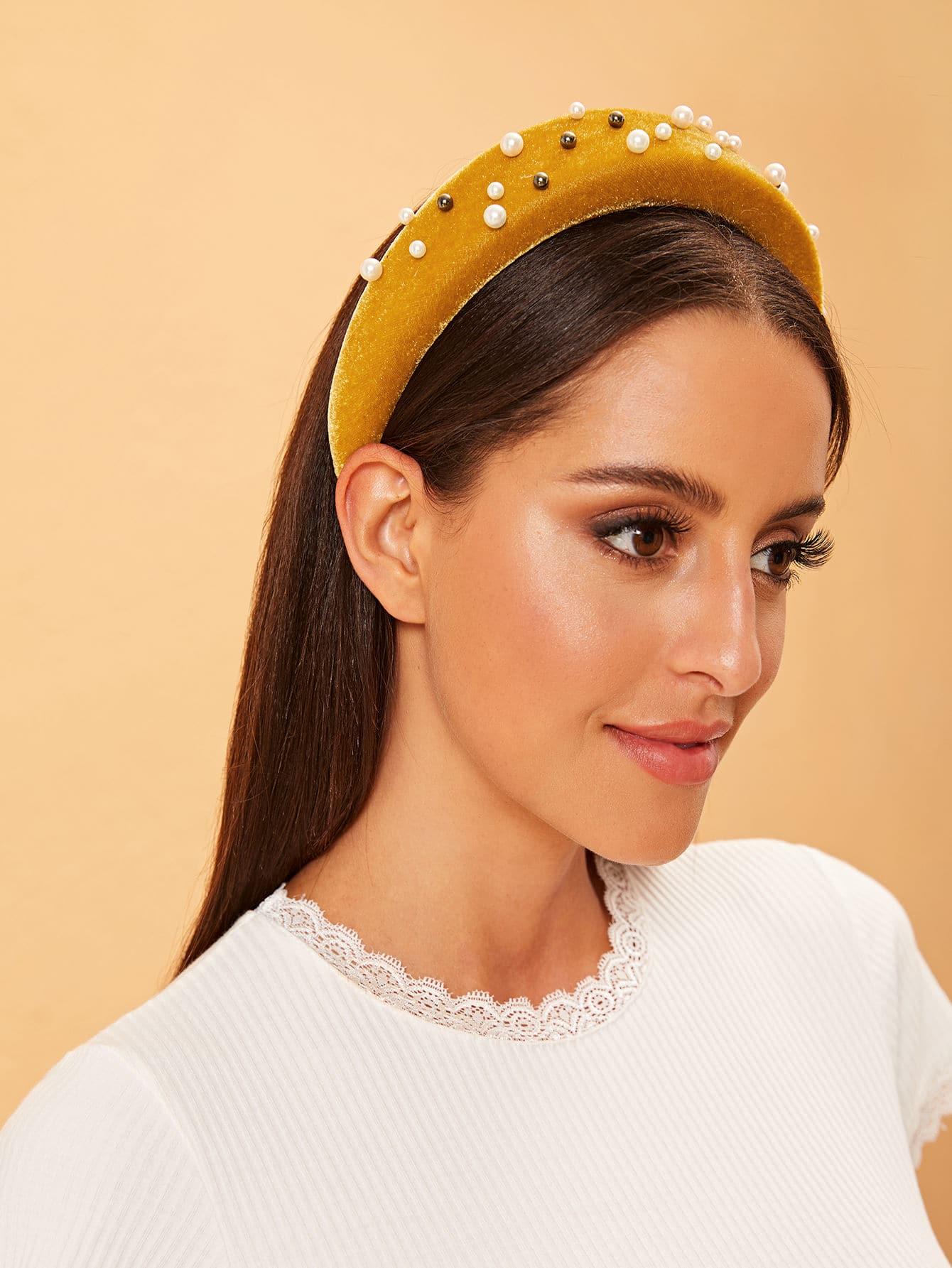 Фото - Повязка на голову с искусственной жемчугой от SheIn цвет жёлтый