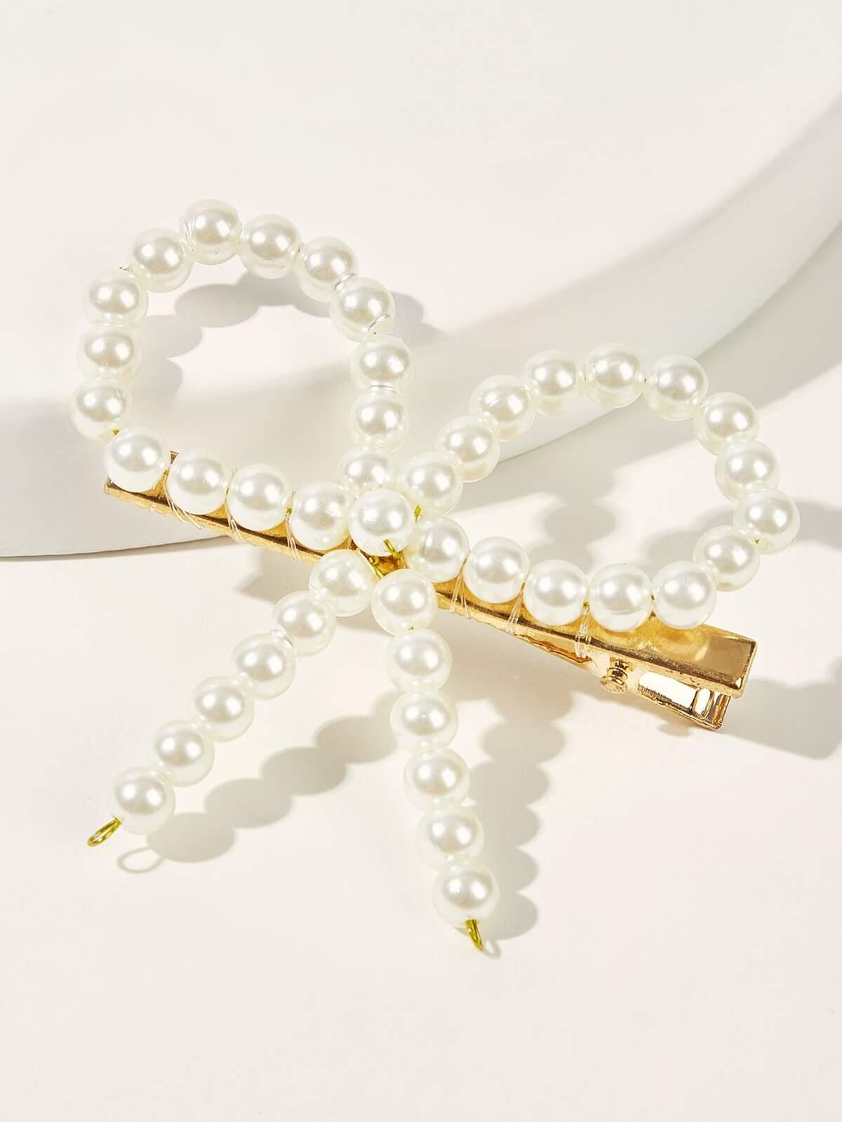 人造的  珍珠色  裝飾 蝴蝶結 結 頭髮 扣夾