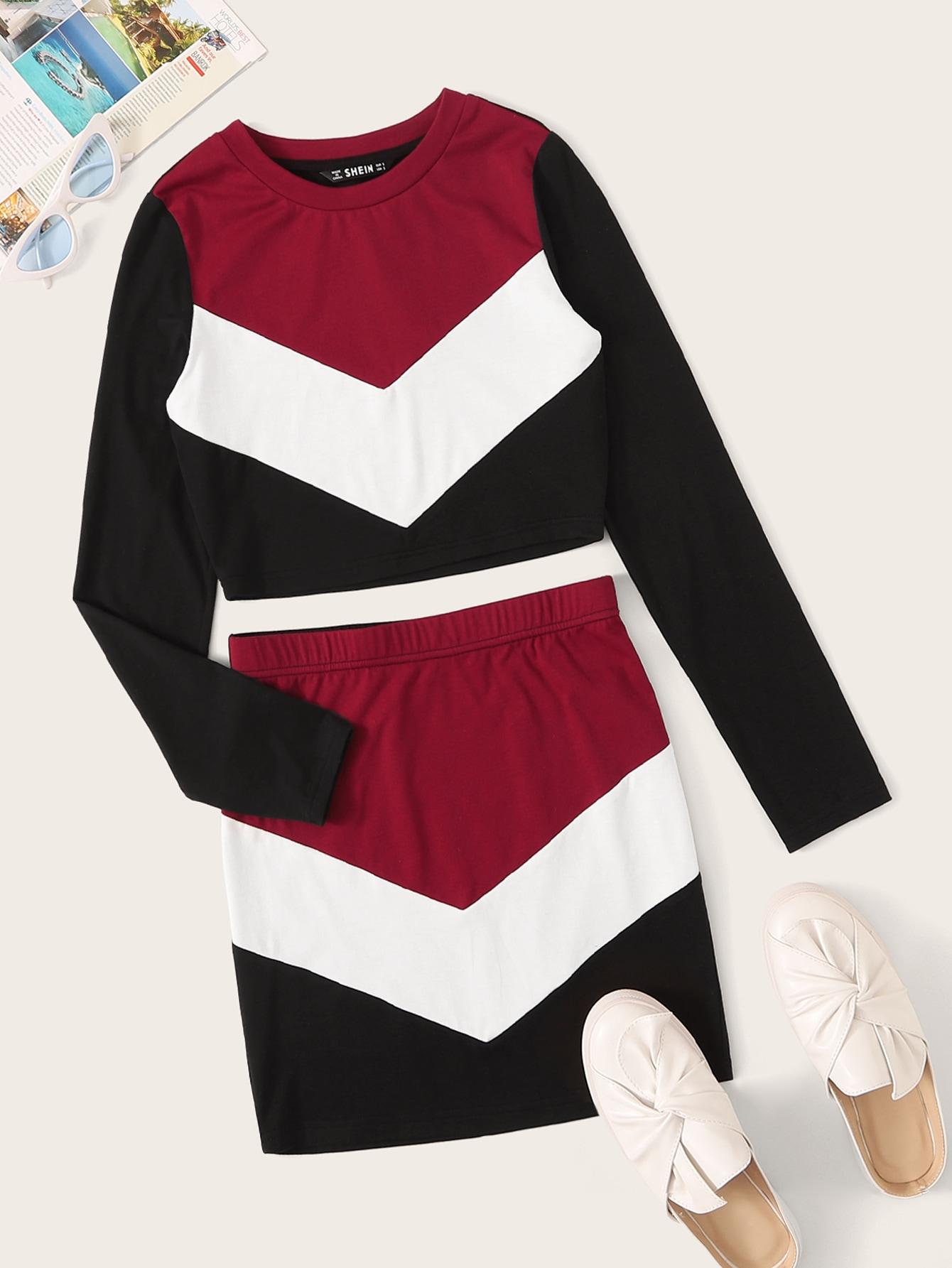 Фото - Кроить и шить кроп топ и юбка от SheIn цвет многоцветный