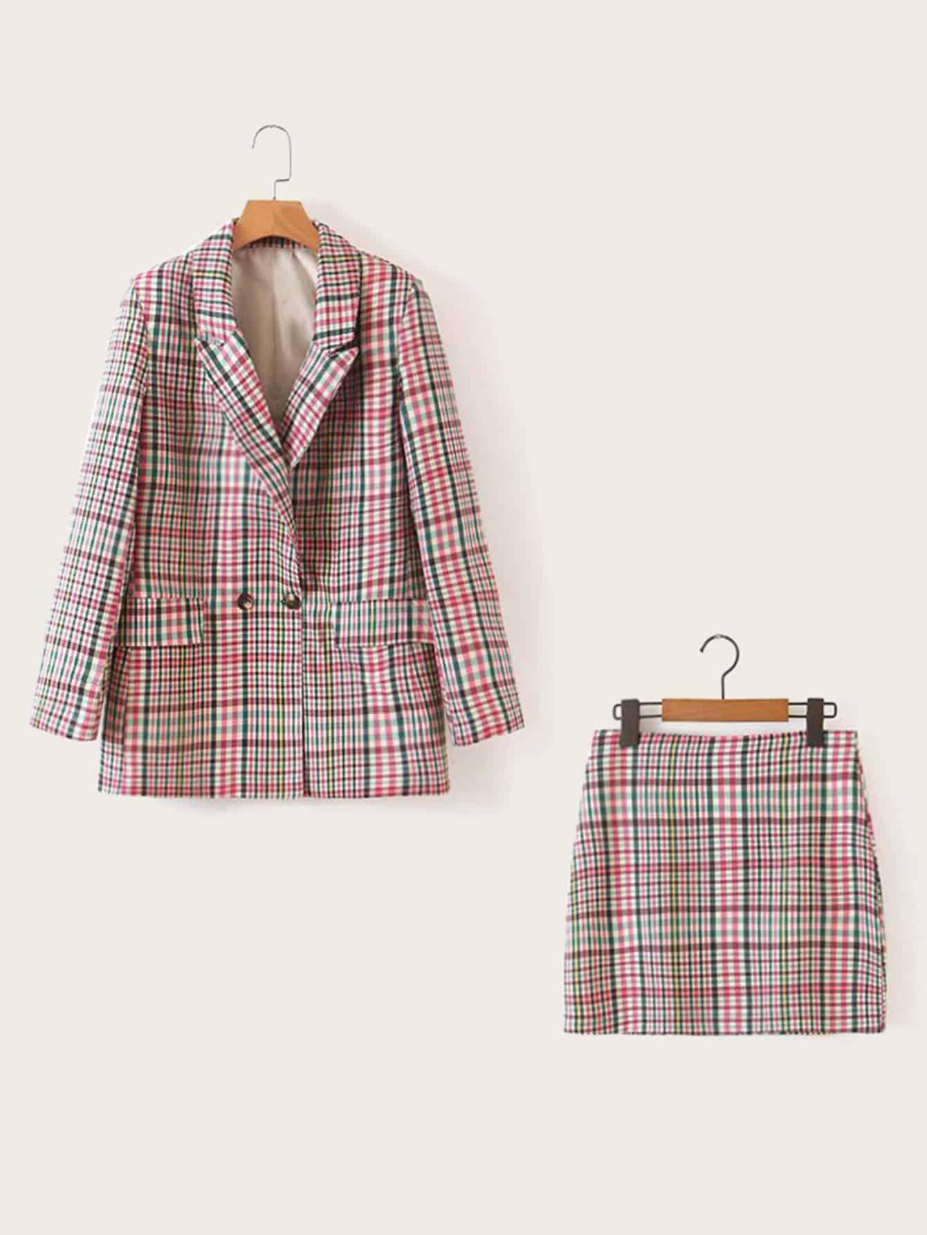 Фото - Разноцветный пиджак в клетку и юбка-карандаш от SheIn цвет многоцветный