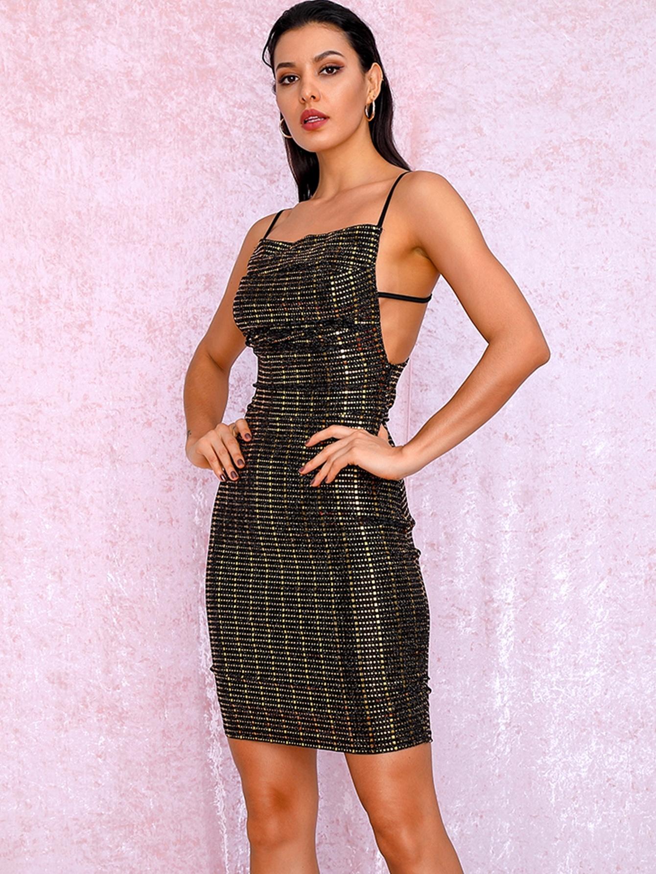 Фото - LOVE&LEMONADE облегающее платье на бретелях с блестками от SheIn цвет чёрные