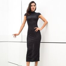 LOVE&LEMONADE Mock-neck Slit Hem Sequin Pencil Dress