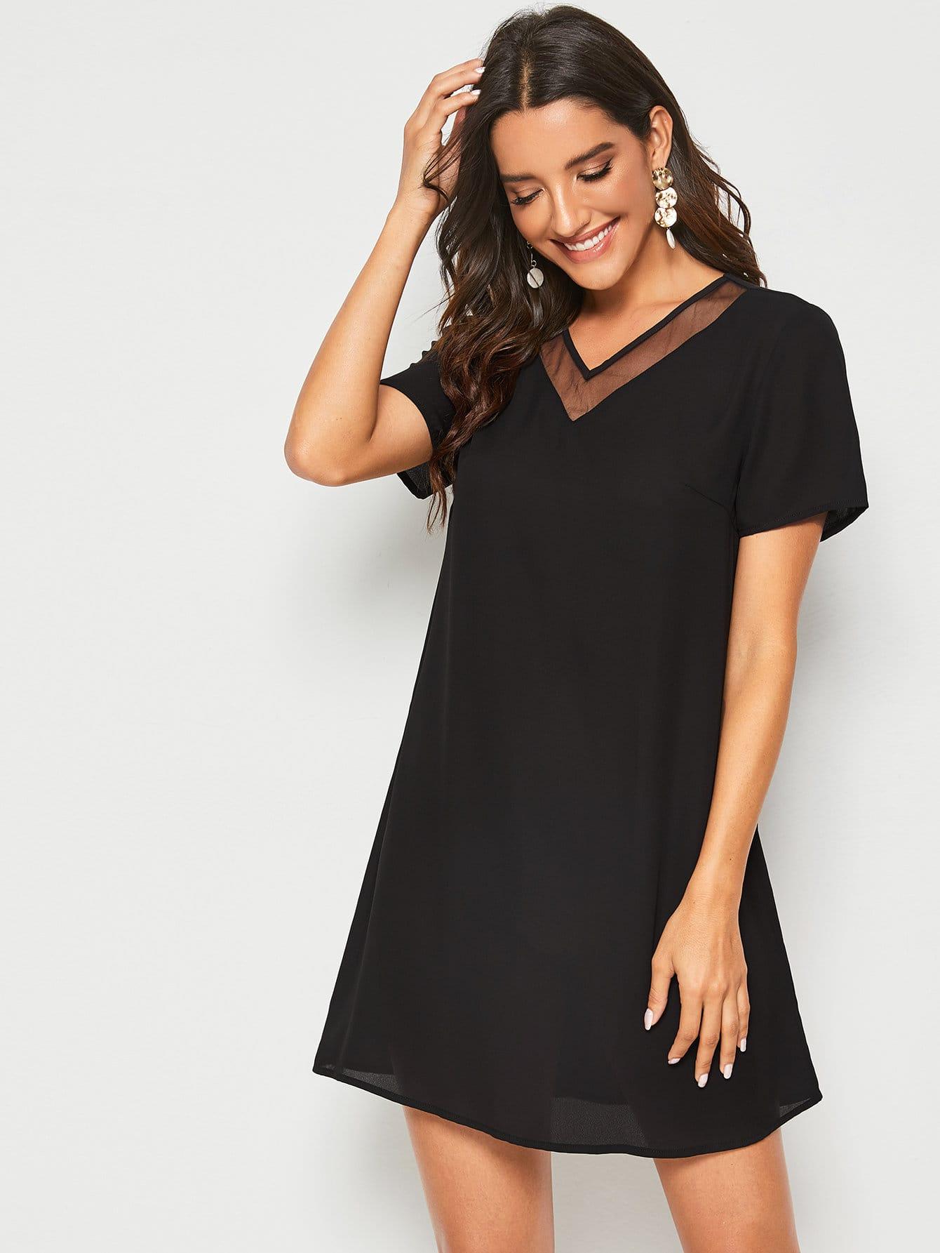 Фото - Однотонное платье со сетчатой вставкой от SheIn цвет чёрные