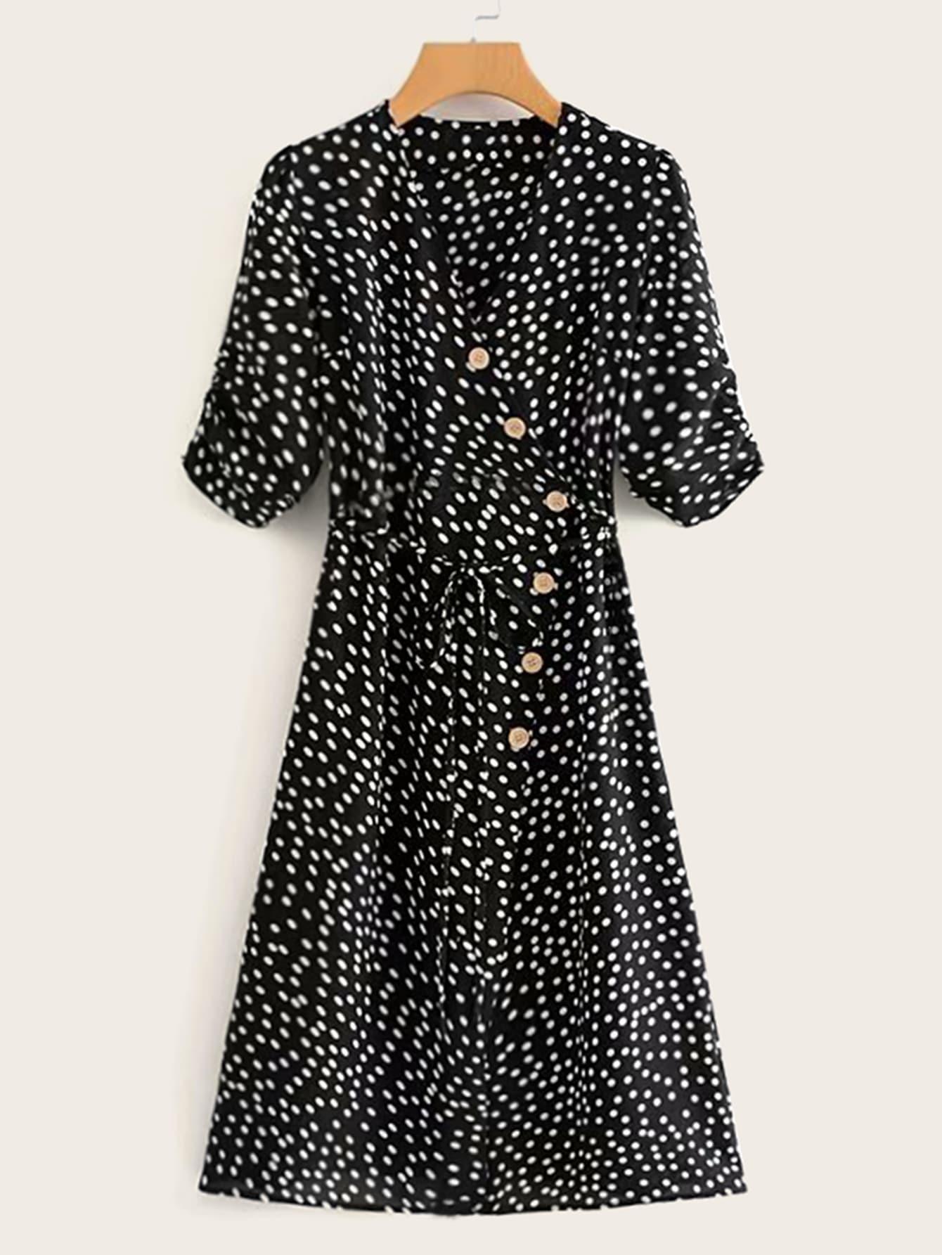 Фото - Платье в горошек с узлом от SheIn цвет чёрные
