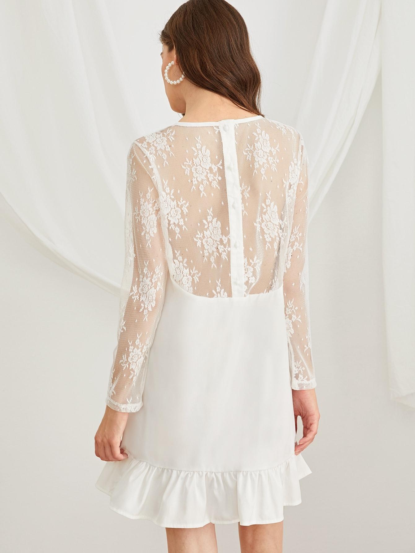 Фото - Шифоновое платье с кружевом и оборками от SheIn цвет белые