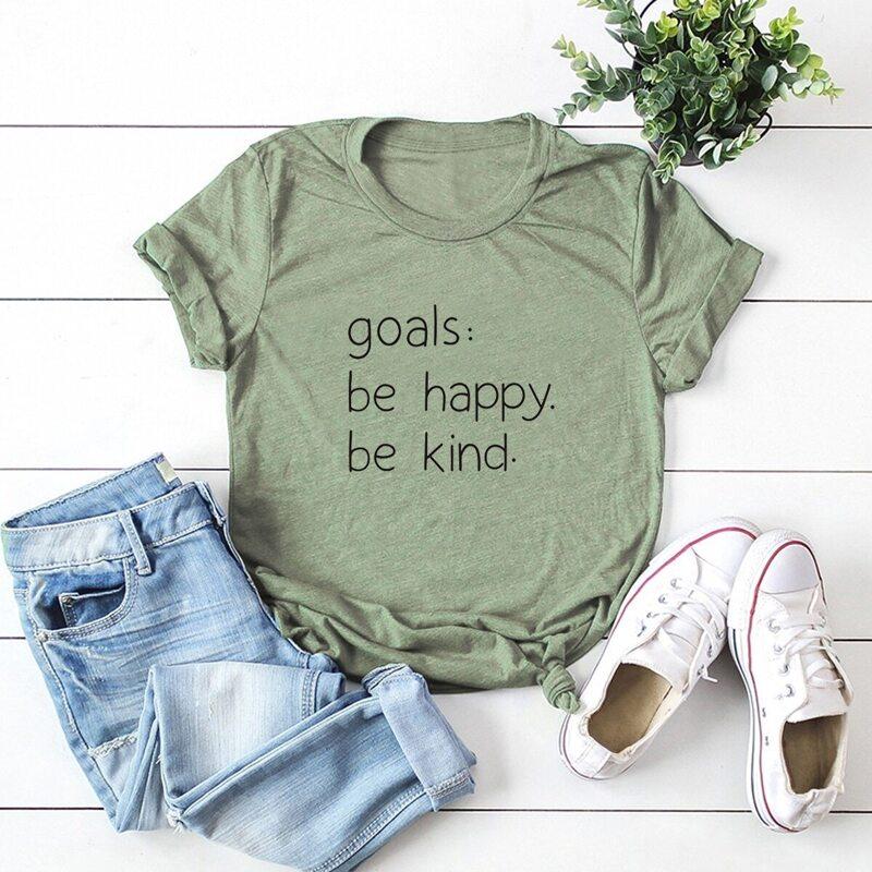 Slogan Print Round Neck Tee, Army green