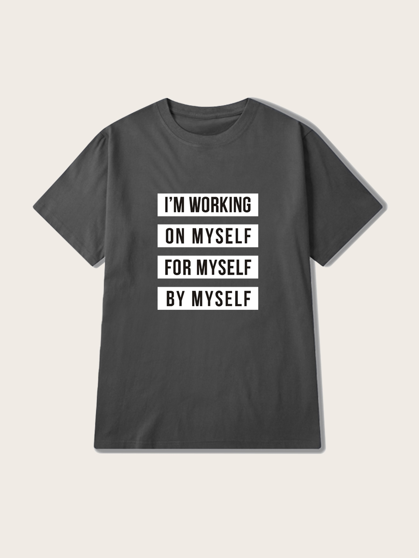 Фото - Мужская футболка с коротким рукавом и текстовым принтом от SheIn серого цвета