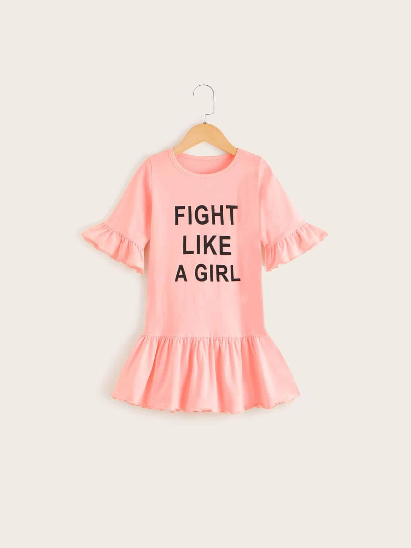Фото - Платье-футболка с текстовым принтом для девочек от SheIn цвет розовые