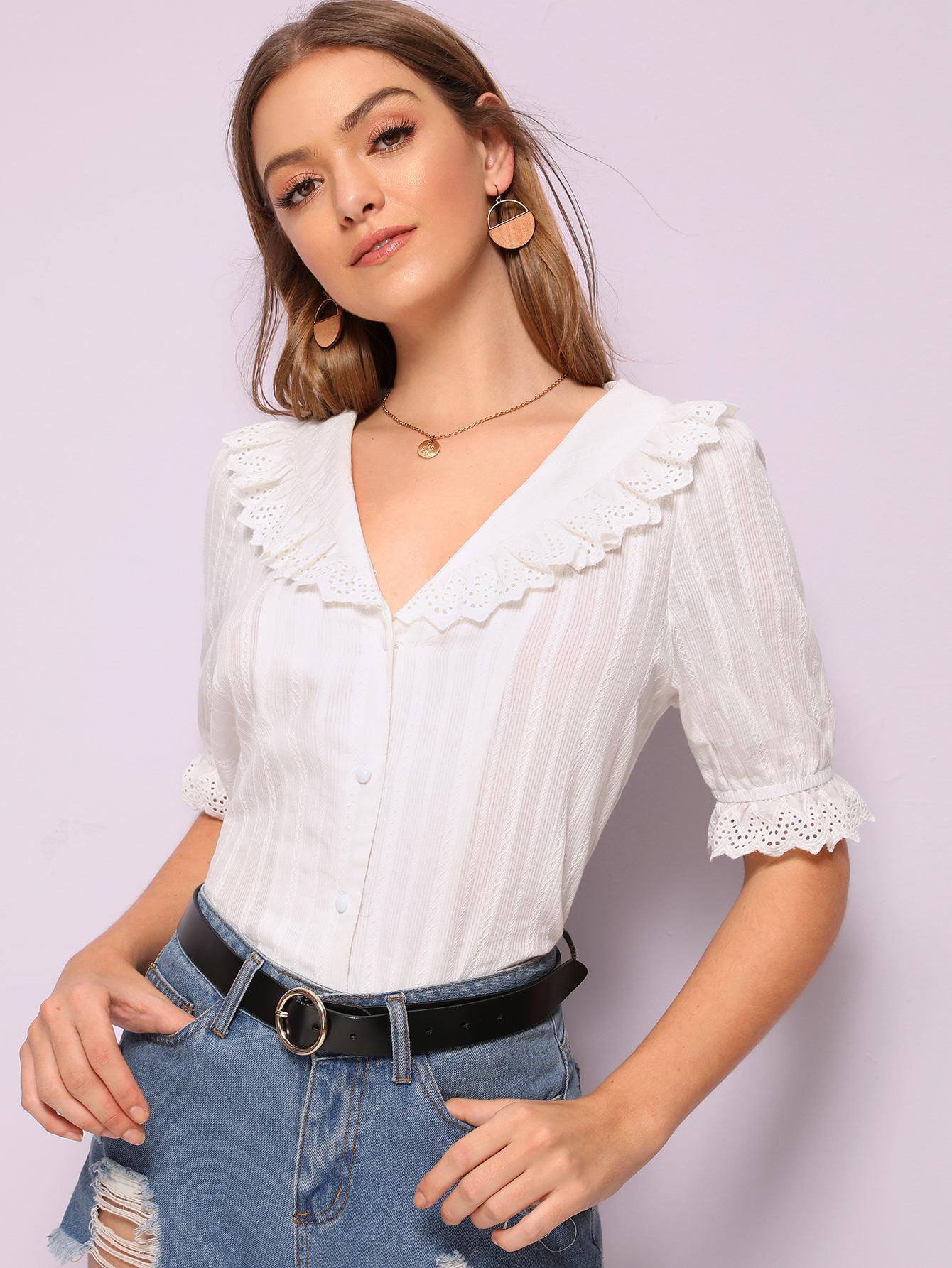 Фото - Стильная рубашка с оборками от SheIn белого цвета
