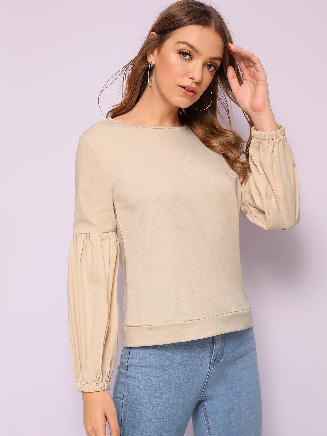 Фото - Однотонный пуловер с оригинальным рукавом от SheIn цвета хаки