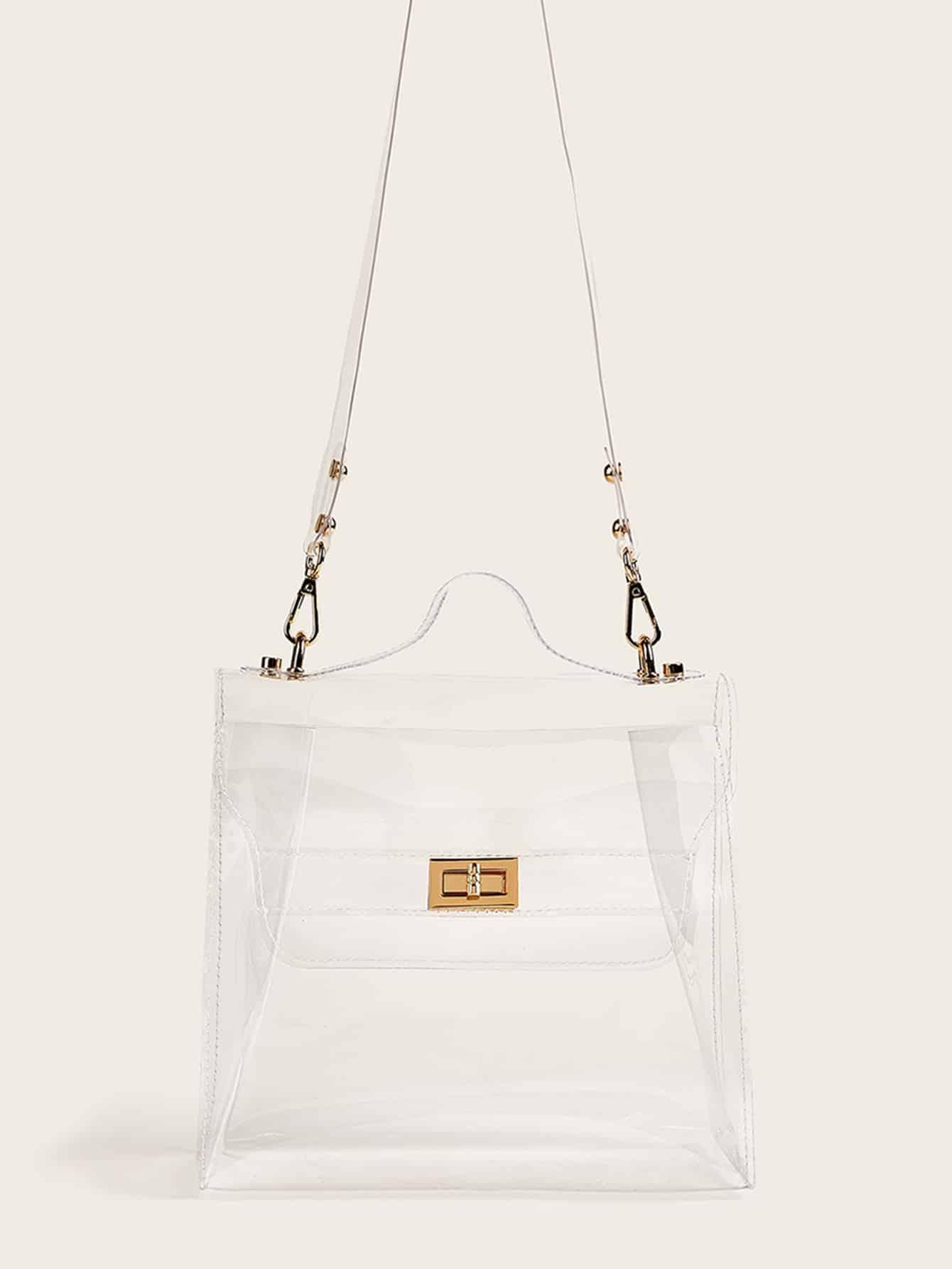 Прозрачная сумка-портфель с поворотным замоком от SheIn