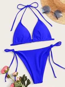 Swimsuit | Halter | Bikini | Neon | Blue | Tie | Ty