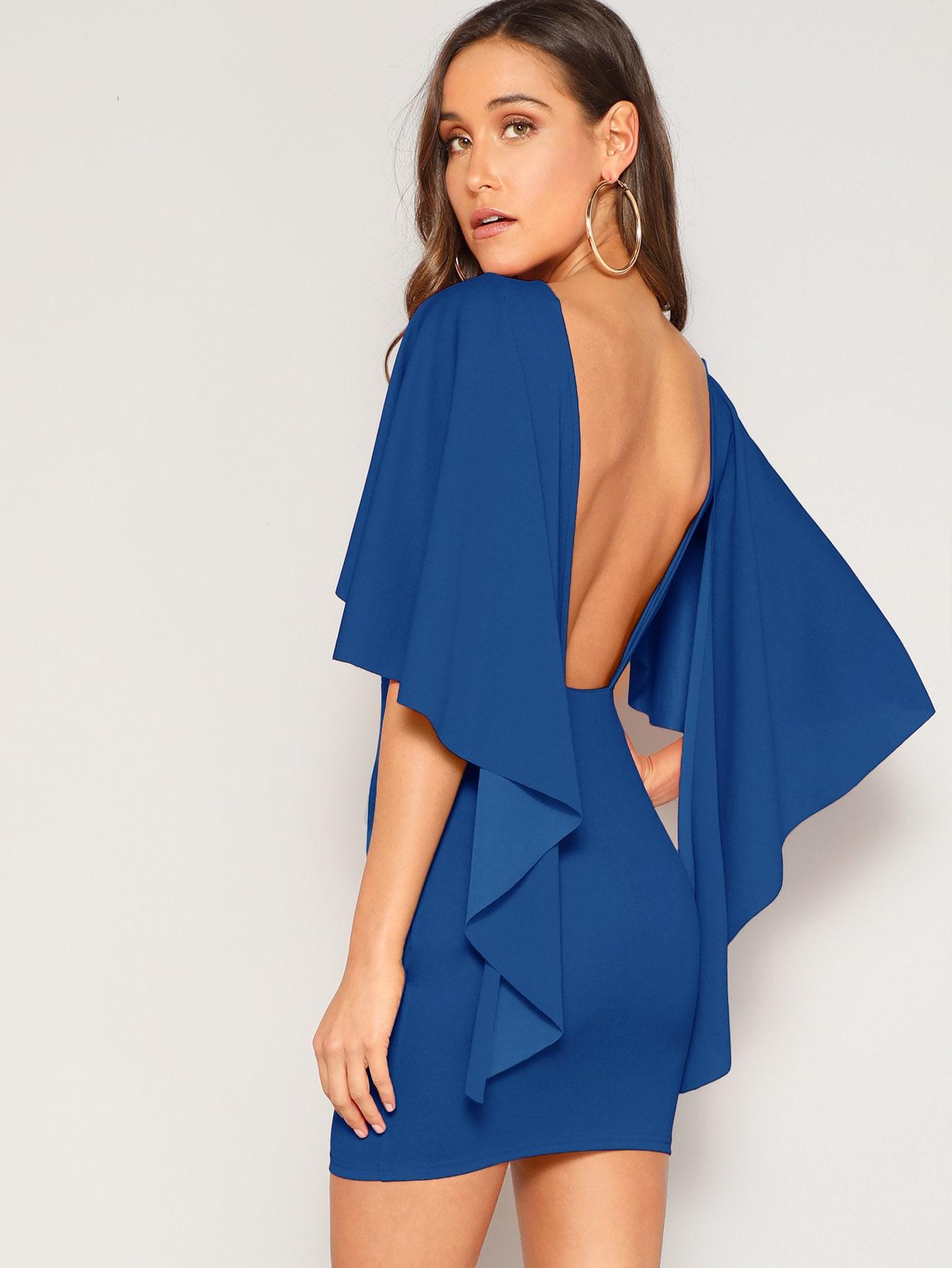 Фото - Платье на запах с оригинальным рукавом от SheIn цвет синие