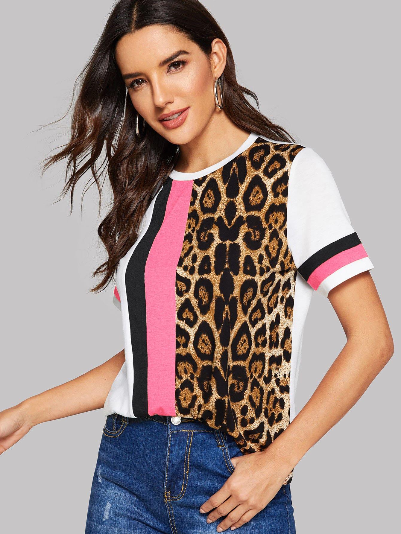 Фото - Кроить и шить леопардовый топ от SheIn цвет многихцветный