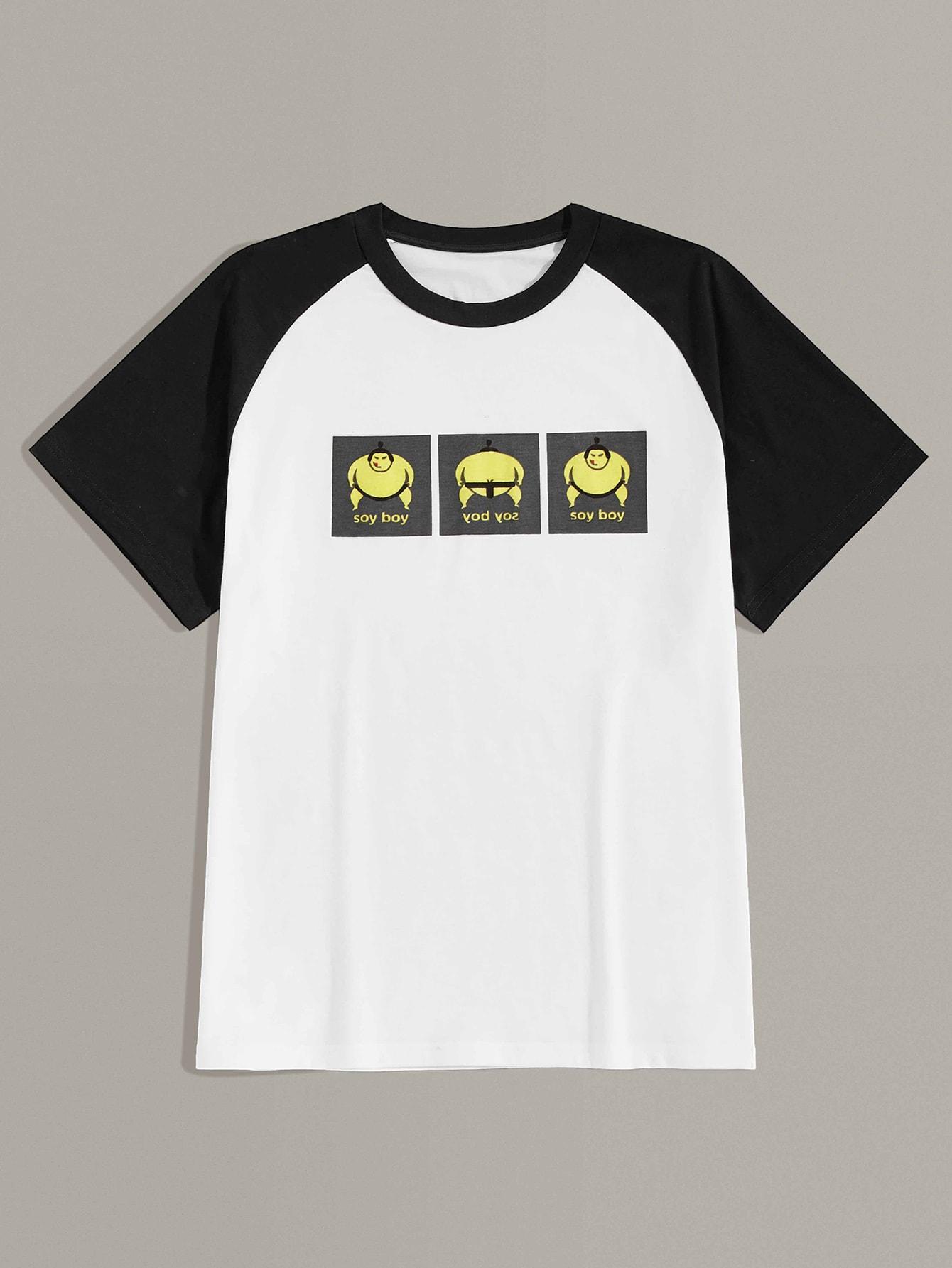 Фото - Мужская футболка с контрастным рукавом и мультяшным принтом от SheIn цвет чёрнобелые