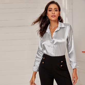 Silver Button Front Blouses