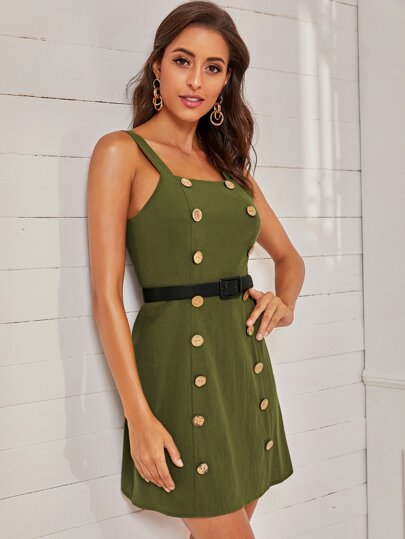SheIn / Double-breasted Belted Cami Dress
