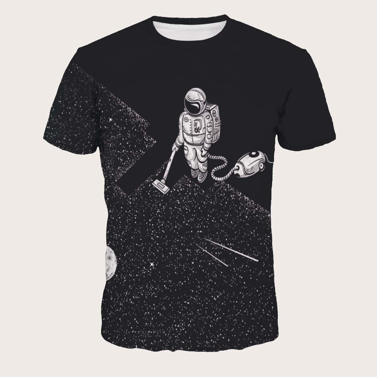 Mannen T-shirt met Abstrace Astronauten Print