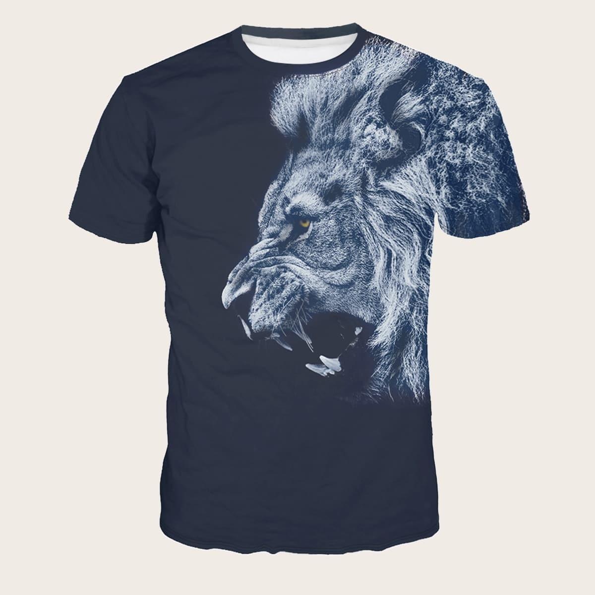 Mannen T-shirt met Leeuw Opdruk