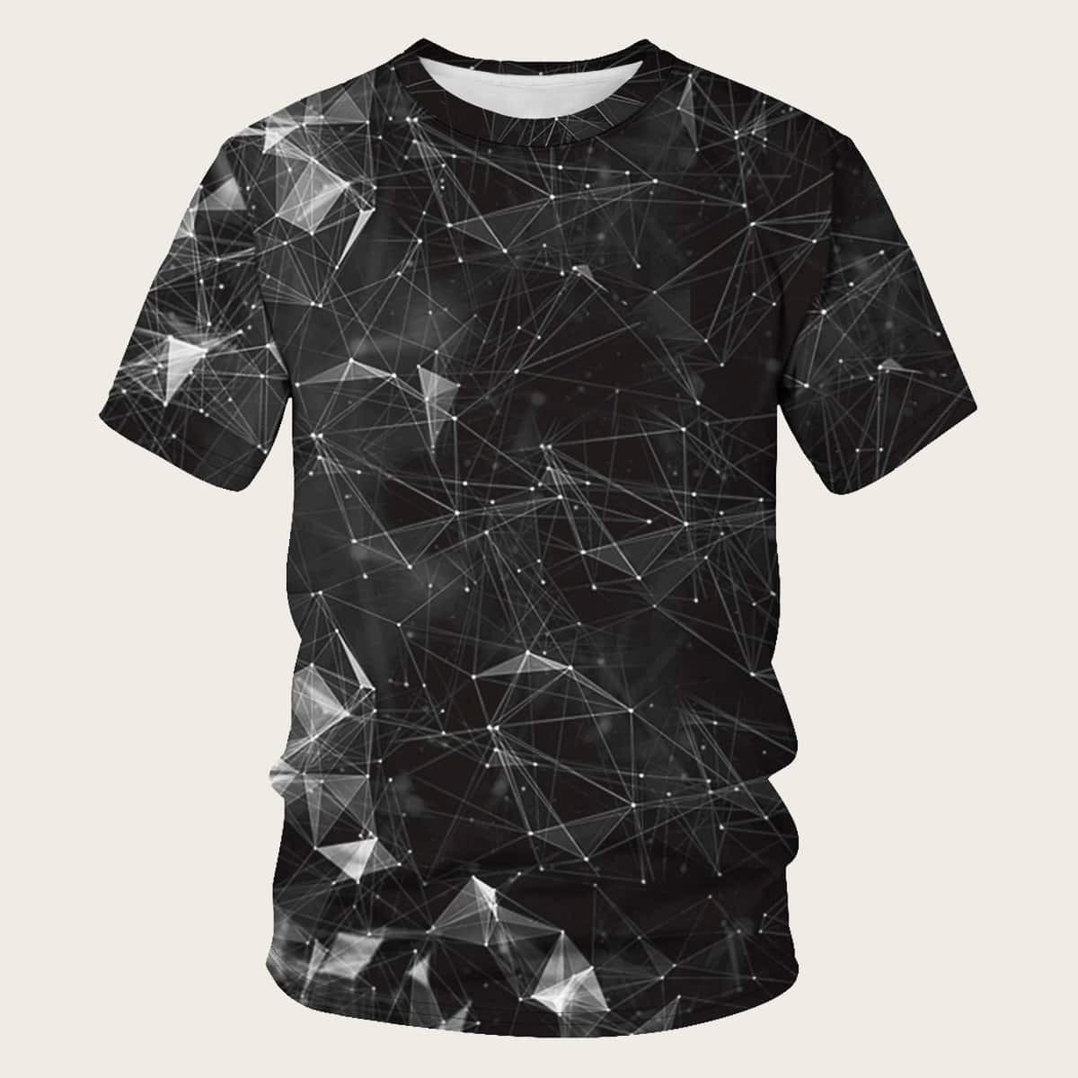 Zwart Casual Geometrisch Shirts mannen