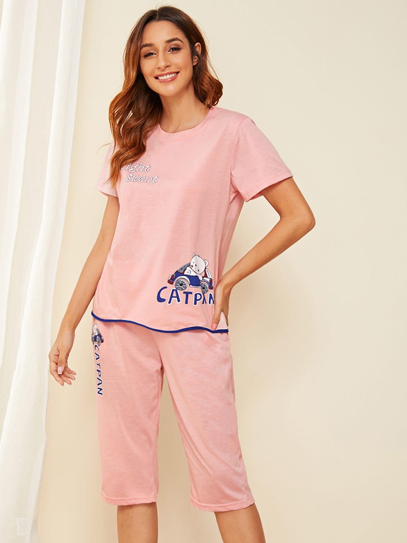 Фото - Пижама с текстовым и графическим принтом от SheIn цвет розовые