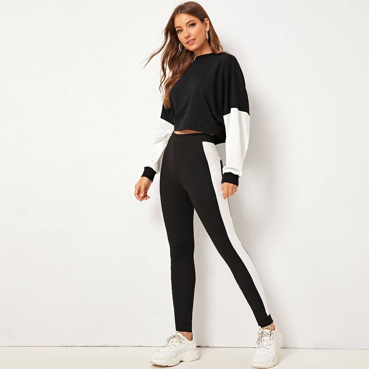 Tweekleurige pullover en leggingsenset